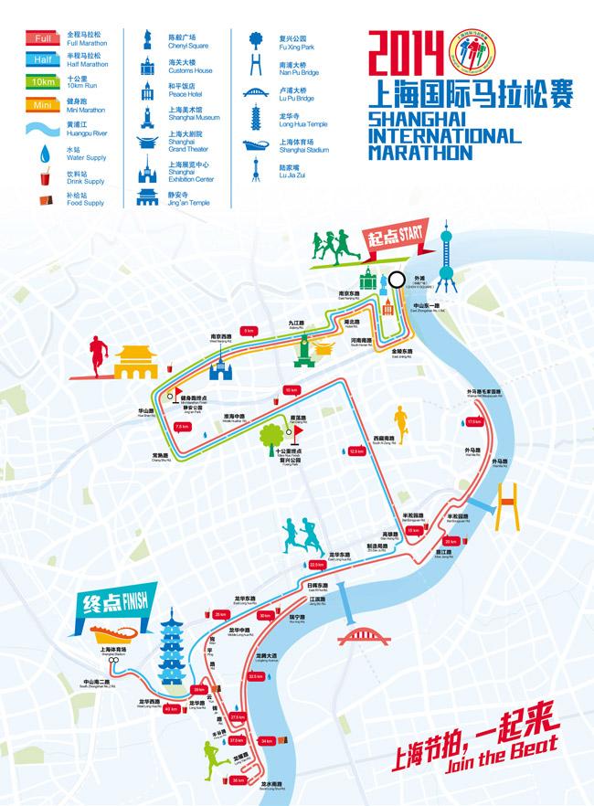 2014年上海国际马拉松路线图