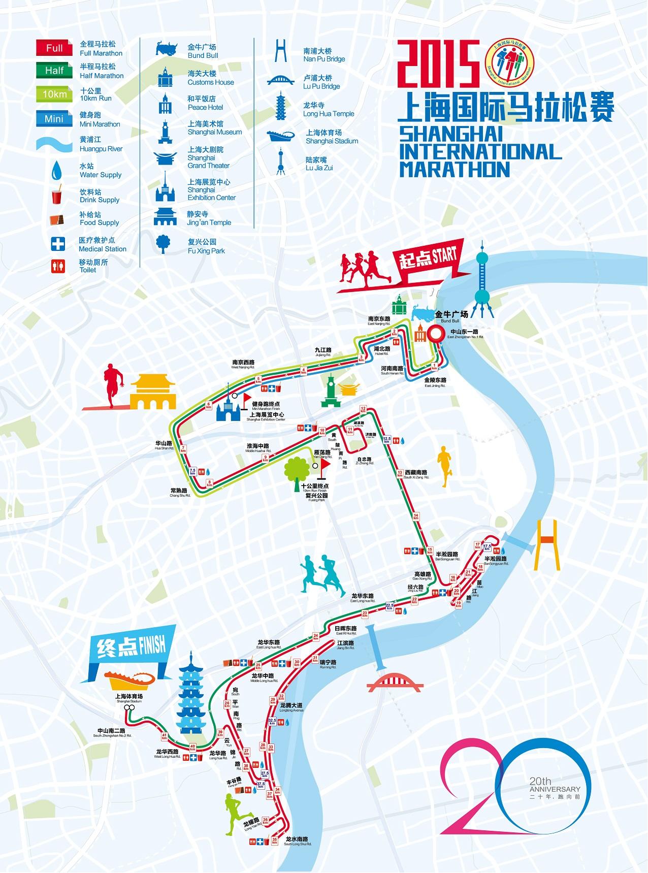 2016年上海马拉松比赛路线图图片