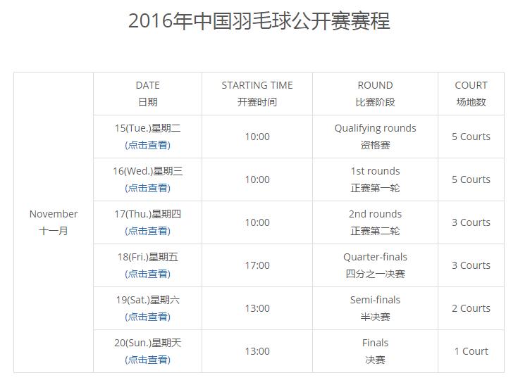 2017中国羽毛球公开赛赛程表