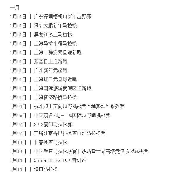 2018马拉松报名时间表、2018全国马拉松时间表【全】