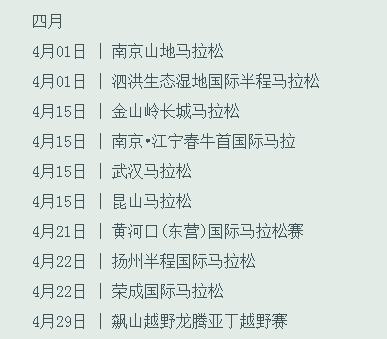 2018年中国马拉松列表、2018中国马拉松赛事表