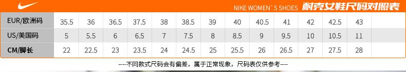 耐克NIKE登月9跑步鞋尺码对照表