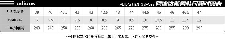 阿迪达斯Adidas跑步鞋尺码表