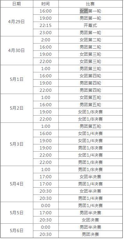 世乒赛 团体赛 直播时间 2018世乒赛 决赛时间一览