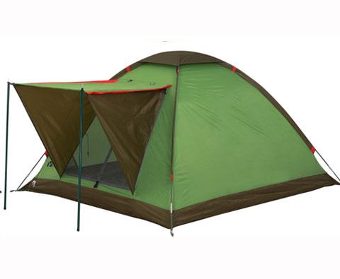牧高笛雅苑三人单层家庭露营帐篷绿色(适合家庭公园使用)