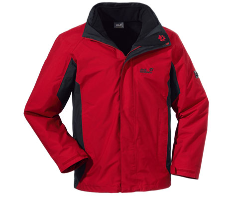 狼爪Jack wolfskin 1101021 暗红色 男款三合一冲锋衣