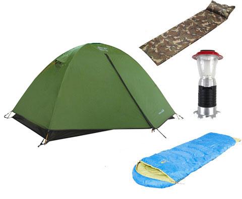 户外露营装备家庭经济型套装(双人帐篷+自充气垫+睡袋+营地灯)