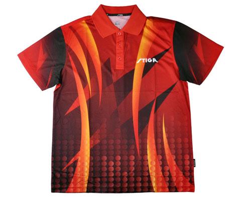 斯帝卡Stiga G1303133红色印花专业乒乓球服(张继科全运会战袍)