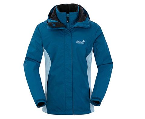 狼爪Jack wolfskin 女款三合一冲锋衣1102991 摩洛哥蓝(纯棉内胆,更保暖)