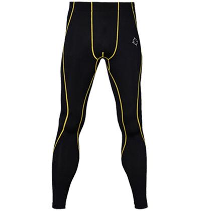 准者压缩紧身运动长裤 (YSK-001)黑/黄色 吸湿排汗透气训练长裤