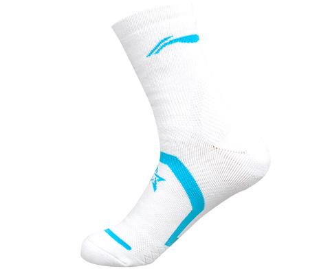 李宁AWSJ032-2女款白蓝羽毛球袜(国羽赞助款,人体弓学设计,抗菌防臭)