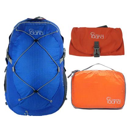 艾丹IDAND旅行背包三件套(28L双肩背包+超轻衣物整理袋+三折洗漱包)