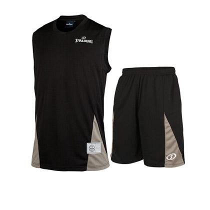 斯伯丁篮球服套装 黑色针织基础款 (适合日常打球穿着)