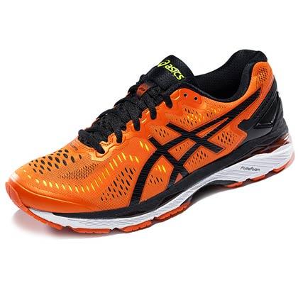 ASICS亚瑟士 K23男款跑鞋 橘/黑/黄(爱世克斯跑步鞋GEL-KAYANO 23 ,货号T646N-0990)