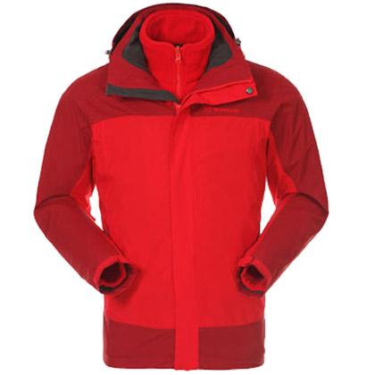 探路者Toread冲锋衣 TAWC91792-A02A户外男士套绒三合一冲锋衣 中国红