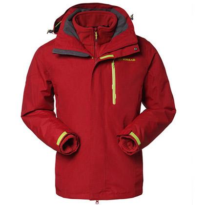 探路者TOREAD 男款套绒三合一冲锋衣 TAWC91862-A07X 绣红色
