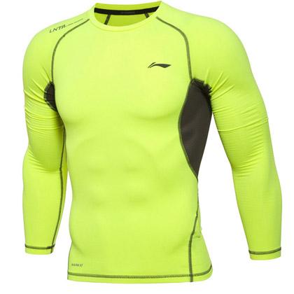 李宁男士紧身衣长袖 健身服速干透气跑步训练健美服 男T恤 AUDL057-1 黄色