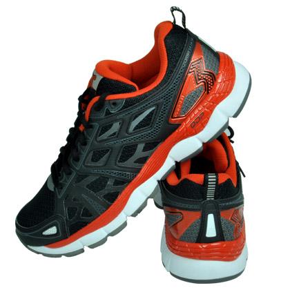 361°国际版跑鞋 OMNI-FIT 男 黑色/辣橙 101610102-2(稳定支撑跑鞋)