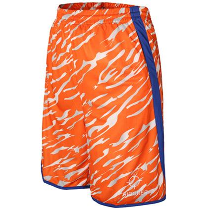 准者迷彩篮球短裤 橙蓝(YK-97K,吸汗速干透气宽松五分运动短裤)