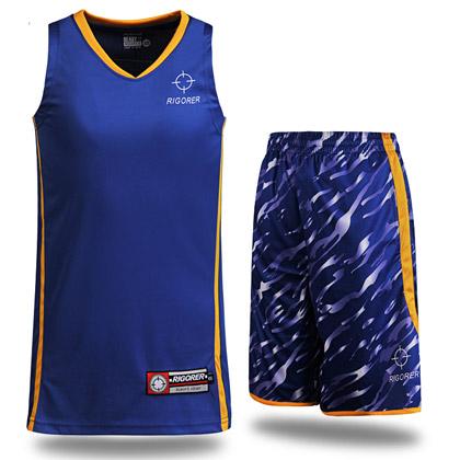 准者迷彩篮球服套装 彩蓝/黄(YK-97,吸汗速干透气宽松篮球套装)