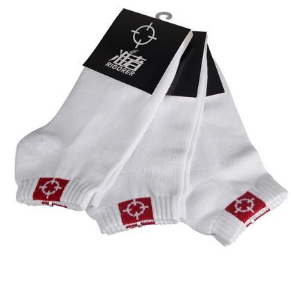准者篮球短袜 白色 三双装(全棉吸汗防臭运动袜,均码26cm-28cm)