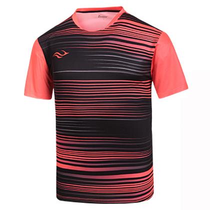 波力Bonny羽毛球服1CTM16012 男款黑色/橘红(光速印花,运动旋风)