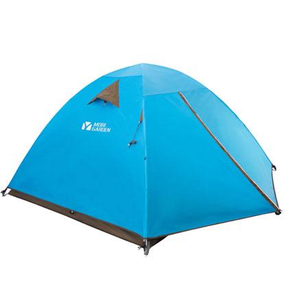 牧高笛T3三人双层三季铝杆帐篷蓝色(超高性价比,3到4人家庭露营之选)