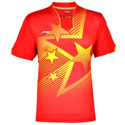 李宁乒乓球服AAYJ345-1男款红色乒乓球比赛服