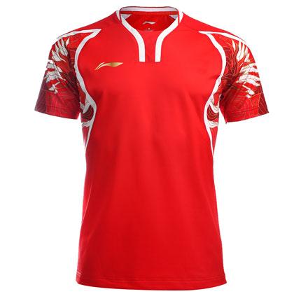 李宁里约奥运会羽毛球服男款短袖AAYL131-1红色 飞龙舞凤祥云战衣