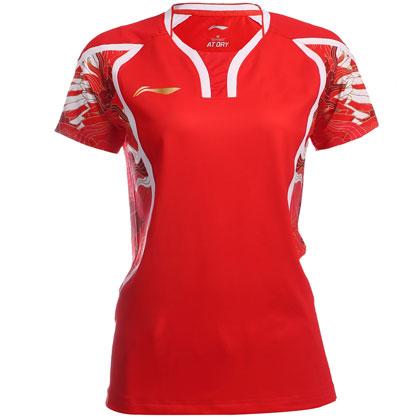李宁里约奥运会羽毛球服女款短袖AAYL124-1红色 飞龙舞凤祥云战衣