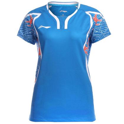 李宁里约奥运会羽毛球服女款短袖AAYL124-2 蓝色 飞龙舞凤祥云战衣