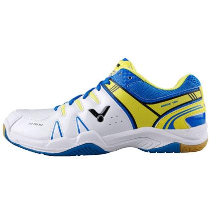 胜利VICTOR羽毛球鞋 SH-A610AF 白蓝色(适合趾尖形状较为圆弧)