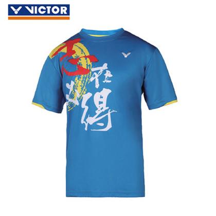 胜利VICTOR 羽毛球T恤 T-6021M 蓝色(胜利在握,志在必得)