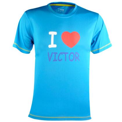 威克多VICTOR 吸汗速干圆领运动衫短袖T恤(英文口号:我爱胜利!)T-6023M 中性款 水蓝色