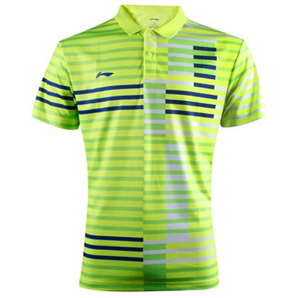 李宁羽毛球服 短袖 男款 AAYL033-2 荧光亮绿