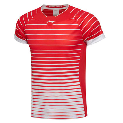 李宁羽毛球服 短袖 女款 AAYL038-6 国旗红