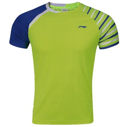 李宁羽毛球服 短袖 男款 AAYL117-2 荧光亮绿