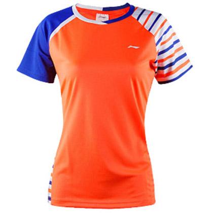 李宁羽毛球服 短袖 女款 AAYL106-3 荧光橙