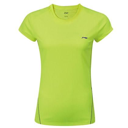 李宁羽毛球服 短袖 女款 AHSL206-1 荧光亮绿