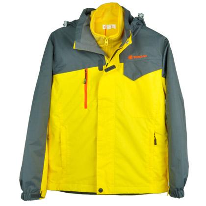 探路者儿童冲锋衣 双色拼接套绒 一衣三穿童装冲锋衣 TJCJ55302 阳光黄