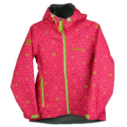 探路者儿童软壳外套、女童外套、防水透气 蔷薇红 时尚印花拼接 TJCJ55203