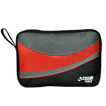 红双喜DHS双层乒乓拍包 RC109牛津布方形乒乓拍套 黑红色