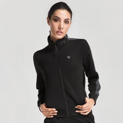 范斯蒂克 女款跑步长袖 运动外套 FBF715101 黑色 (简洁有型,舒适百搭)