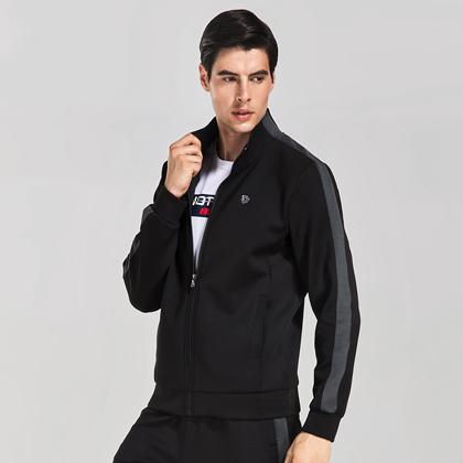 范斯蒂克 男款跑步长袖 运动外套 MBF76801 黑色 (简洁有型,舒适百搭)