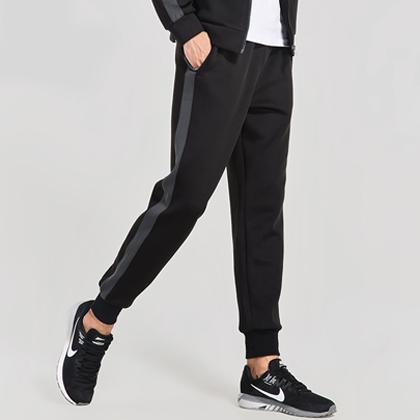 范斯蒂克 男款束腿跑步长裤 运动长裤 MBF77202 黑色(经典搭配,永不过时)