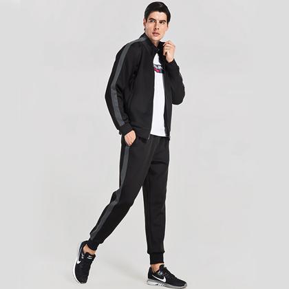 范斯蒂克 男款跑步套装 运动套装 TC2891 黑色 (简洁有型,舒适百搭)