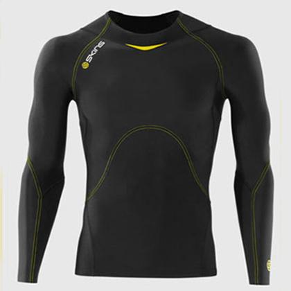 skins a400 男款上衣长袖 黑色黄线 (精准压缩,肌肉支撑)