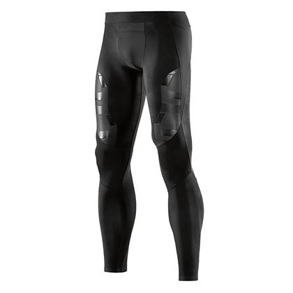 SKINS思金斯 A400梯度压缩黑色光泽胶印长裤 OBLIQUE 男 ZB99320010014(精准压缩,高倍支撑