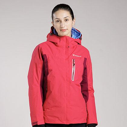 TOREAD探路者女式套绒冲锋衣-品红/深枣红 KAWF92382-A45A(防寒保暖,防水渗透)