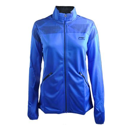 李宁 女款开衫无帽卫衣 运动服外套 羽毛球跑步休闲 AWDG162-2  蓝色